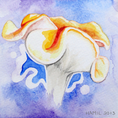 Watercolor-painting-Smooth-Chanterelle-mushroom